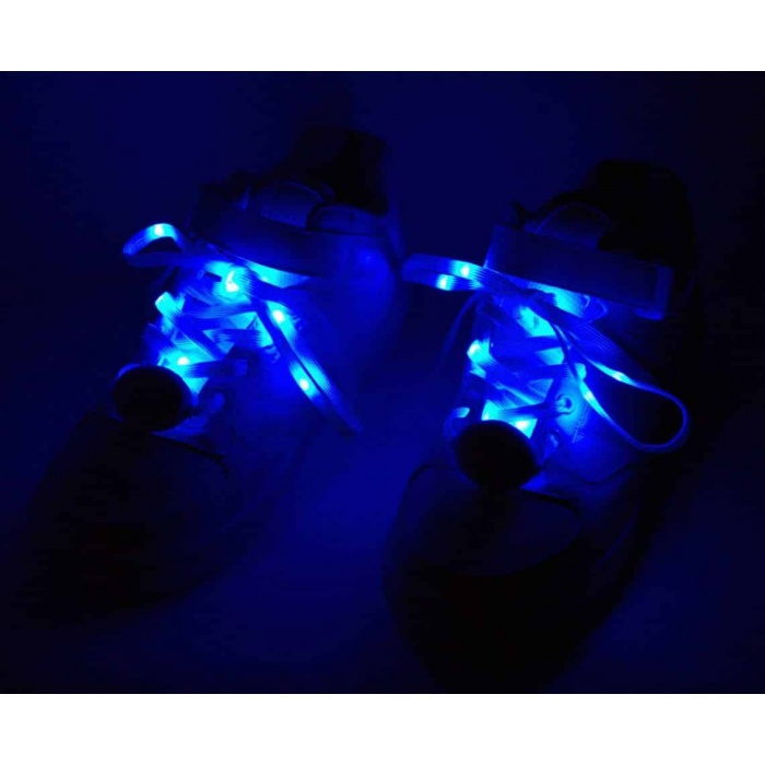 Glimmer Gear LED Shoe Laces - White w/ Blue LEDs - Light
